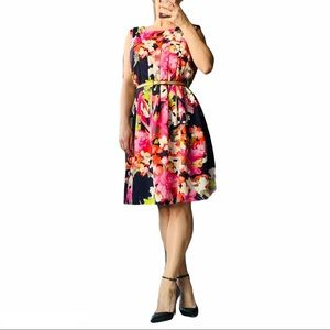 Vince Camuto Dress Floral Lined Classy Midi Gold
